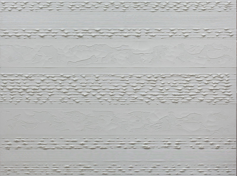 Stripes White on White; Oil on linen; 90 x 120 cm ©RoseLong.com