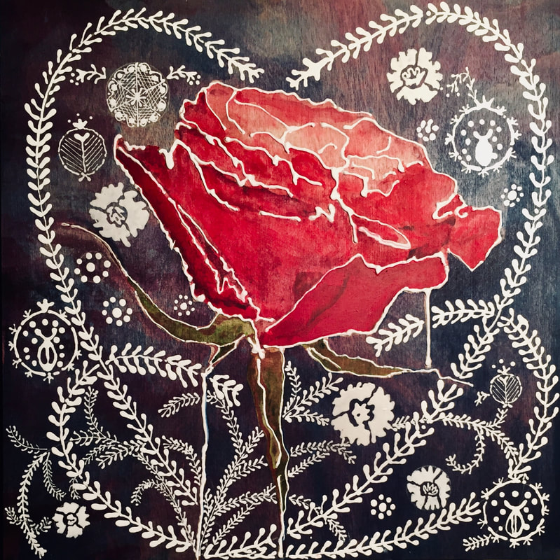 Red Rose with foliage; Acrylics on plywood board; 30 x 30 cm